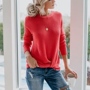 LOVE STITCH | Coral Thermal Knit Long Sleeve Top